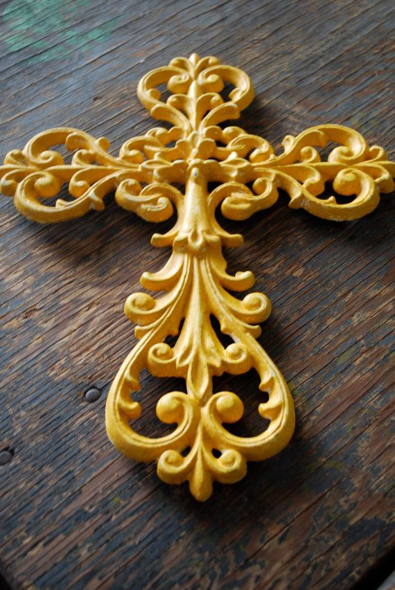 Mustard yellow cast iron wall decor cross by Chicstaging on Etsy ...