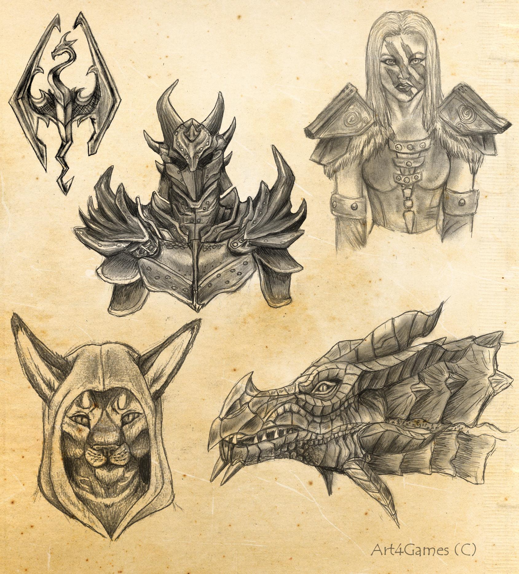 Skyrim sketches | •::Illustrations/Art (part |||)::• | Pinterest ...