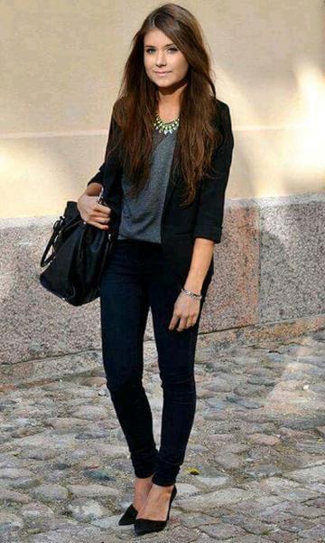 Look: Blazer + Skinny Jeans