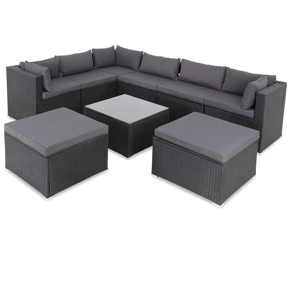 Amazon De Casaria Poly Rattan Xxl Lounge Set Inkl 7cm Auflagen Und 15cm Dicken Kissen Tisch Mit Glasplatt In 2021 Polyrattan Lounge Set Polyrattan Lounges Sitzgruppe