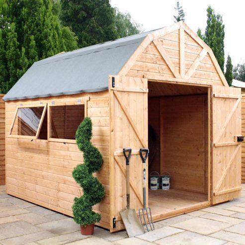 10 x 8 sutton deluxe tongue groove dutch barn garden wooden shed 10ft x 8ft 305m x 244m fast delivery pick a day - Garden Sheds Quick Delivery