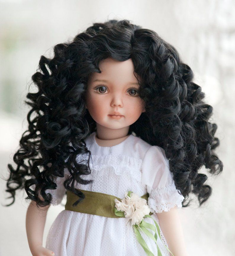 "1//8 Lovely Twin Wave Ponytail BJD Wig 5-6/"" Mohair School Girl Doll Wigs 4 Colors"