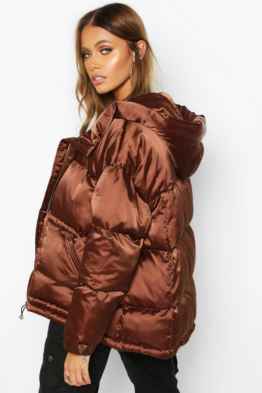 Satin Hooded Puffer Jacket Boohoo Puffer Jackets Jackets Aesthetic Fashion [ 1500 x 1000 Pixel ]