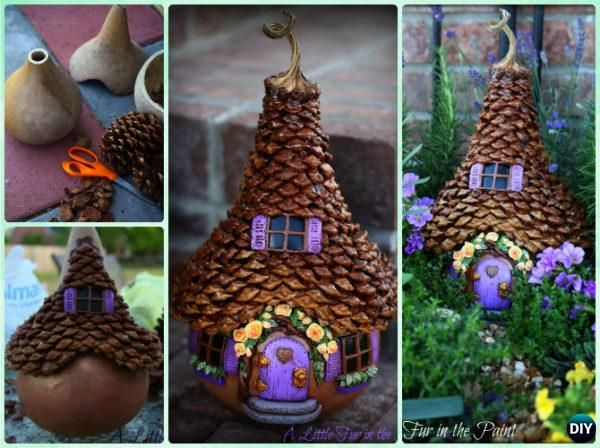 DIY Gourd Pine Cone Fairy House Instruction