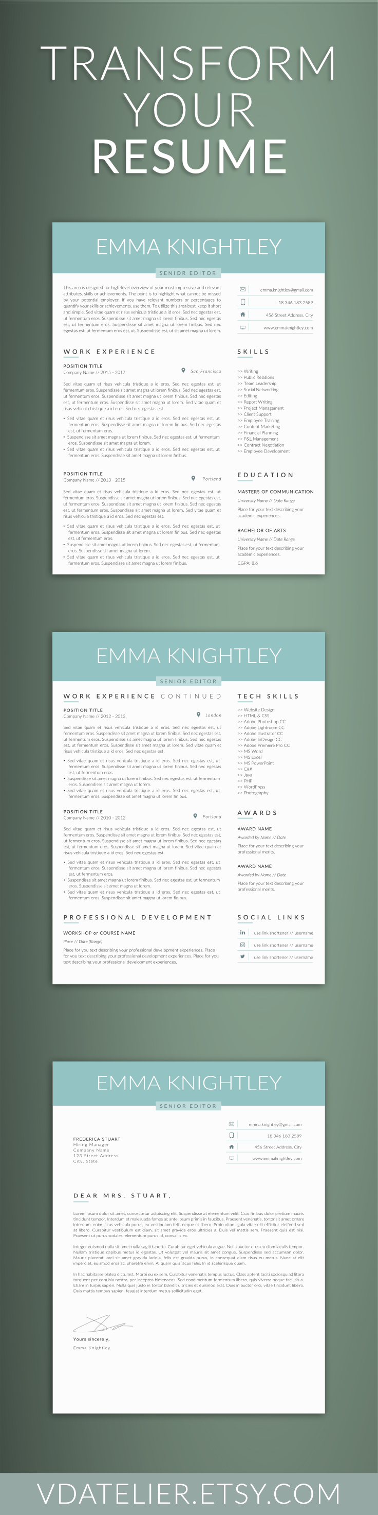 Professional Resume Template 5 Pages | Modern Resume Template For