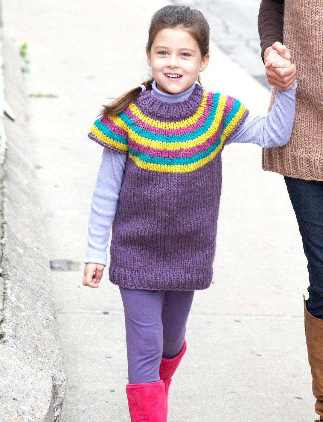 Yarnspirations bernat striped yoke pullover patterns patons kids top down striped sweater knit pattern bankloansurffo Image collections