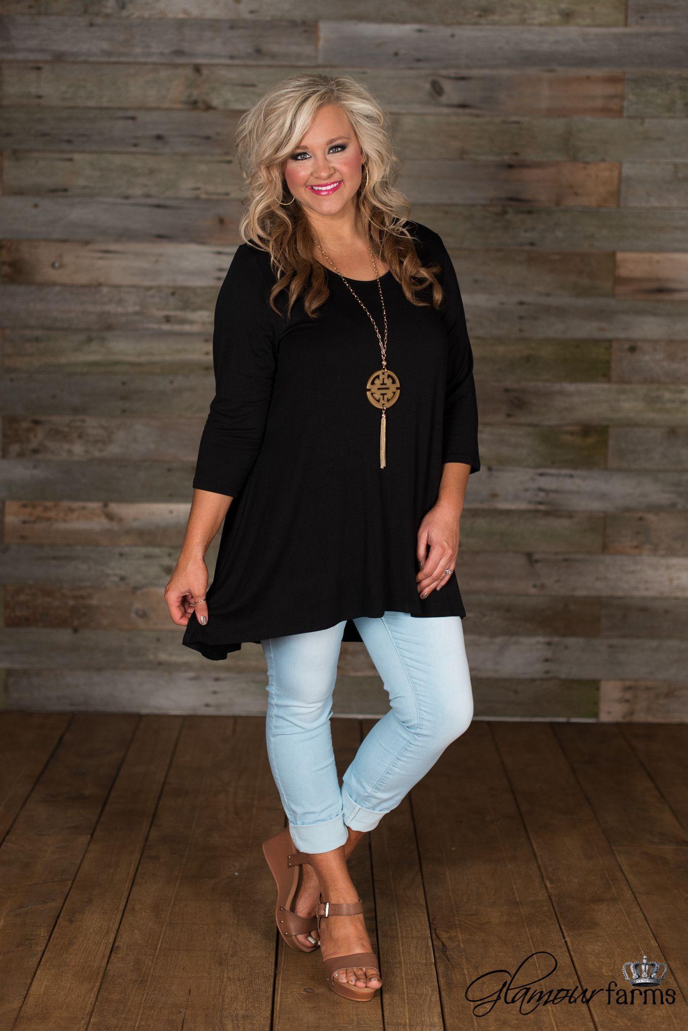 f73bac46bf1 Curvy| Annalee Basic Tunic - Black | Just My Style in 2019 | Fashion ...