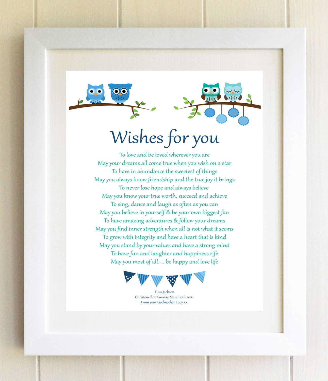 Personalised New Baby Boy Girl Newborn Christening Baptism Naming Day Gift