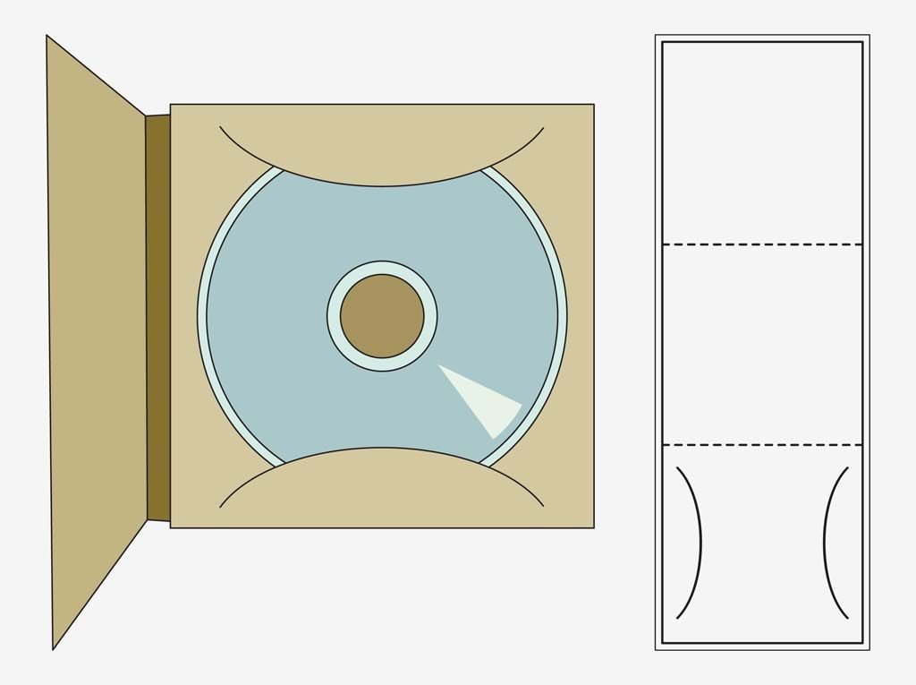 vector graphics of a printable cd case template rectangular fold out lines for cutting gluing. Black Bedroom Furniture Sets. Home Design Ideas