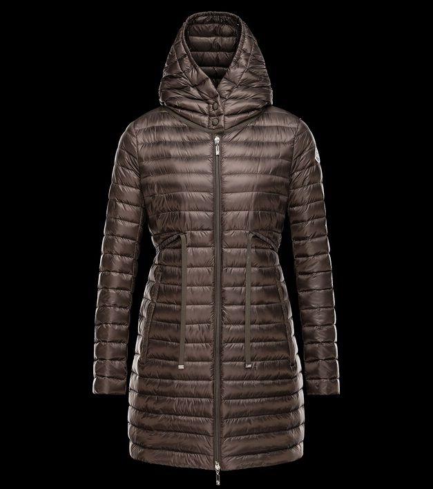 magasin moncler BARBEL manteau doudoune longue femme capuche vert paris