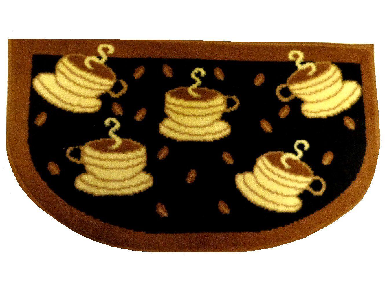 Black Brown Coffee Cups Kitchen Rug $24.95