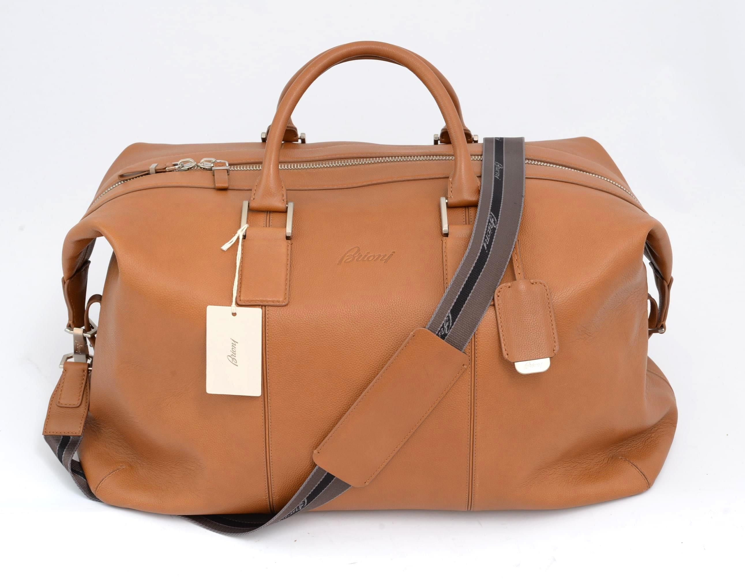 5fb347ddd45bc Striking treatment went into this Brioni Italy Tan Pebbled Calf Leather  Weekender Travel Bag!