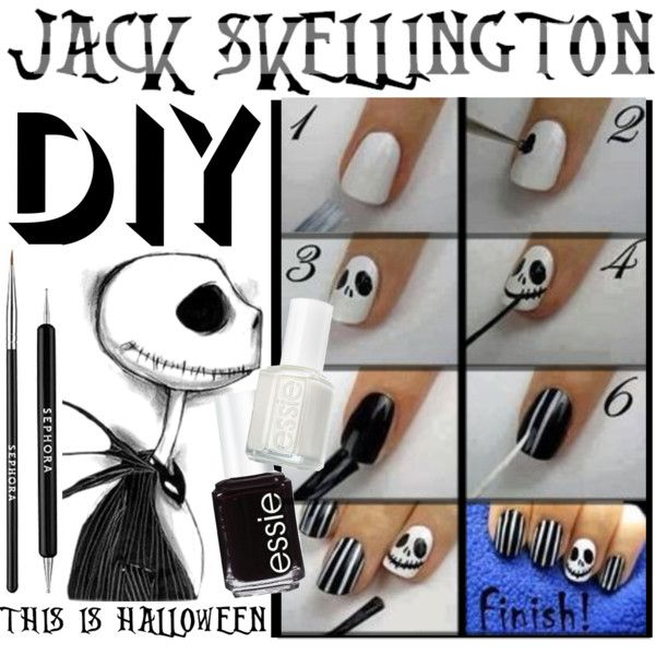 DIY Jack Skellington nails | Jack skellington, Makeup and Nail nail