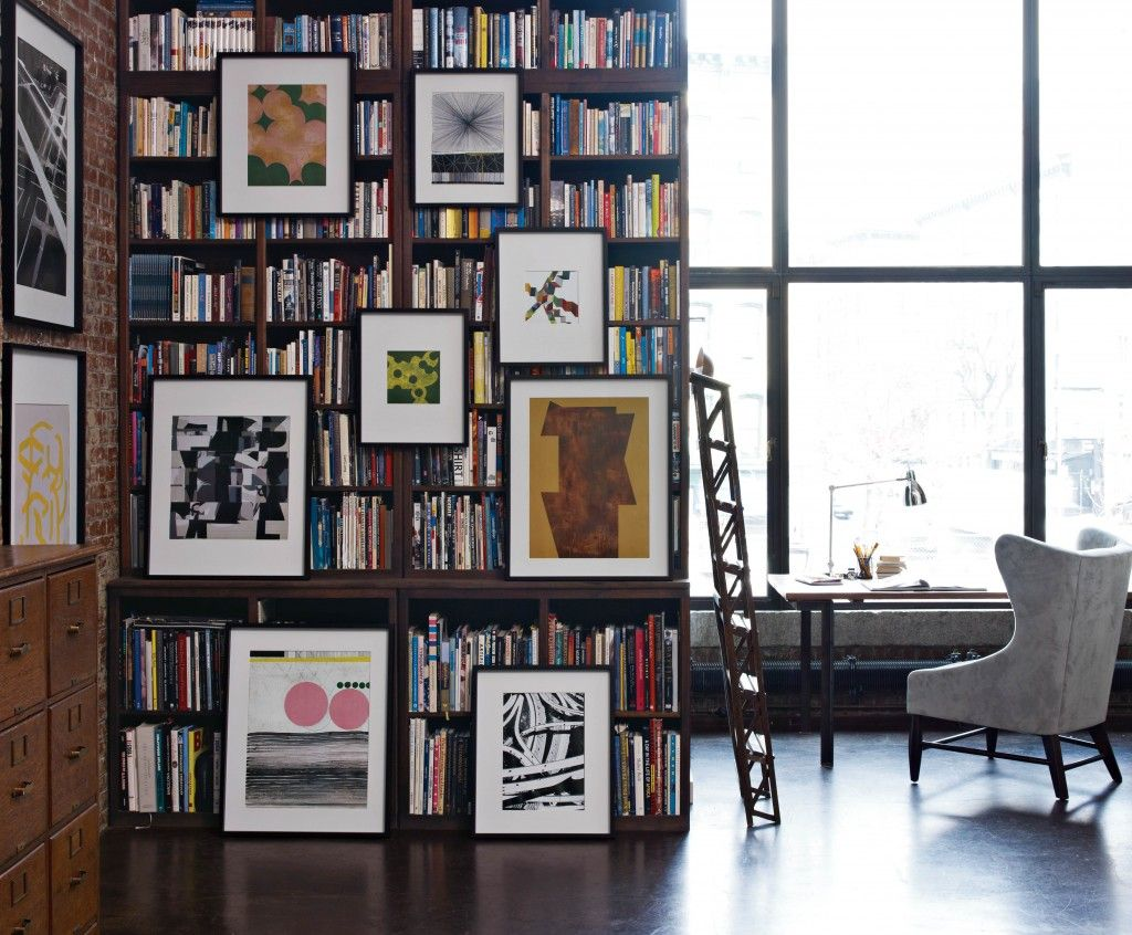 hanging art over bookcase | SPACES AND GEMS | Pinterest ...