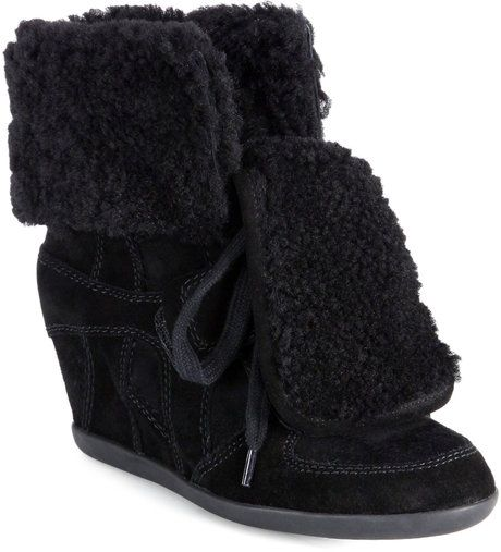 Boogy Shearling Suede Wedge Sneakers - Lyst