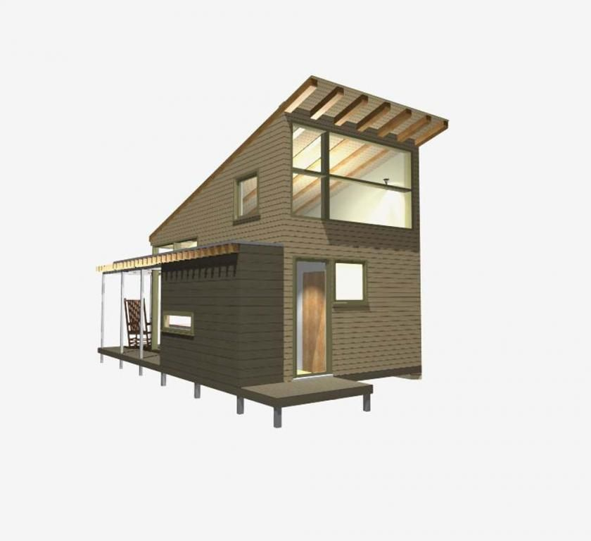 Modern small house design loft and huge windows by new for Solar powered home designs