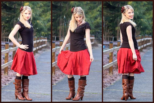I like the brown and red.  More modest fashion ideas here.