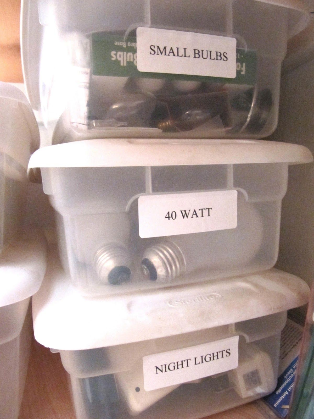 Closet Storage Organize Light Bulbs In Clear Plastic Shoe Box Containers
