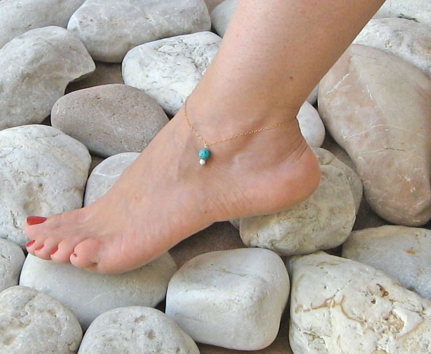 turquoise anklet silver or bracelet ankle bracelets gold white pin sterling fill