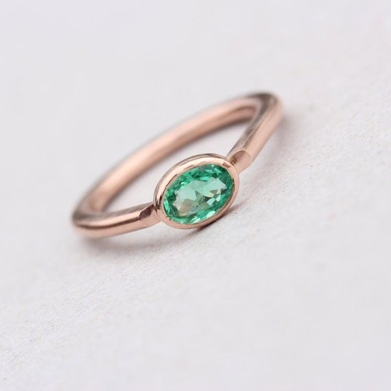 Modern 14k Rose Gold Emerald Engagement Ring Simple Green Brazilian Gemstone Oval Drop Shank Minimal
