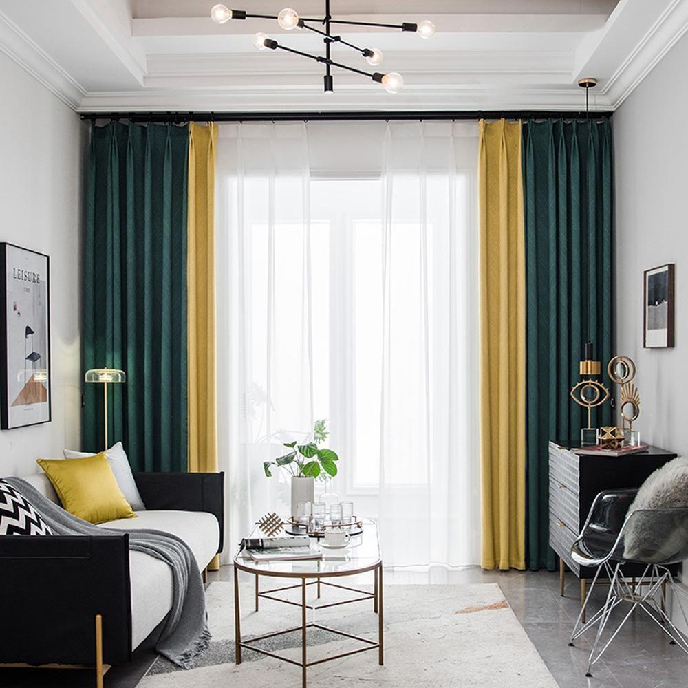 DIHIN HOME Modern Fashion 2 Colors Spliced Curtains ...