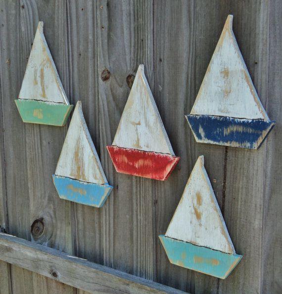 Photo of 5 Weathered Beach Sailing Boats Beach House Wall Hanging Lake House Decor Coastal Wo …