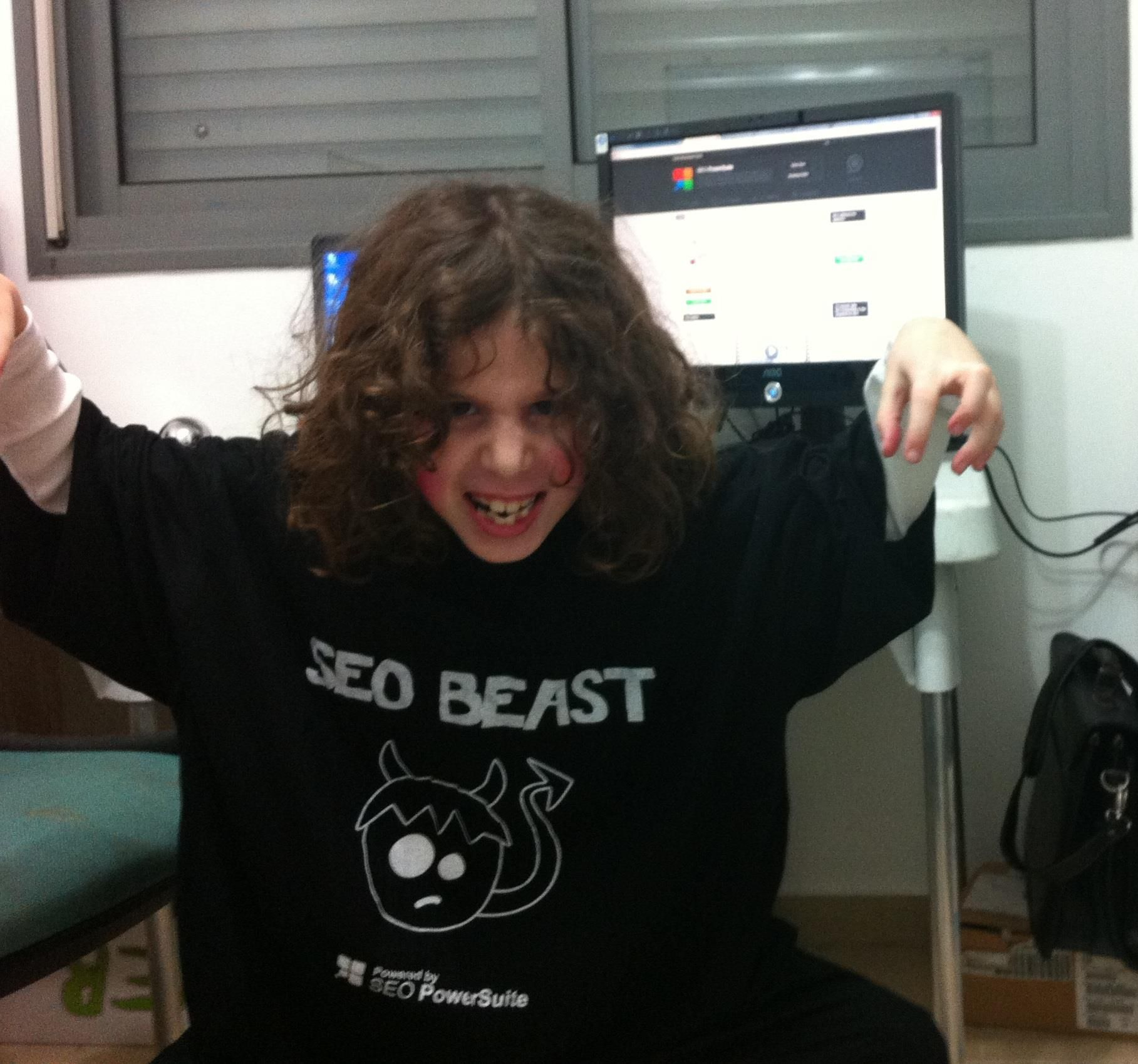The Beast is unleashed!! Shay Berkovich's niece is trying on the t-shirt that Shay won in one of our contests.  #seo #seopowersuite #seocontest