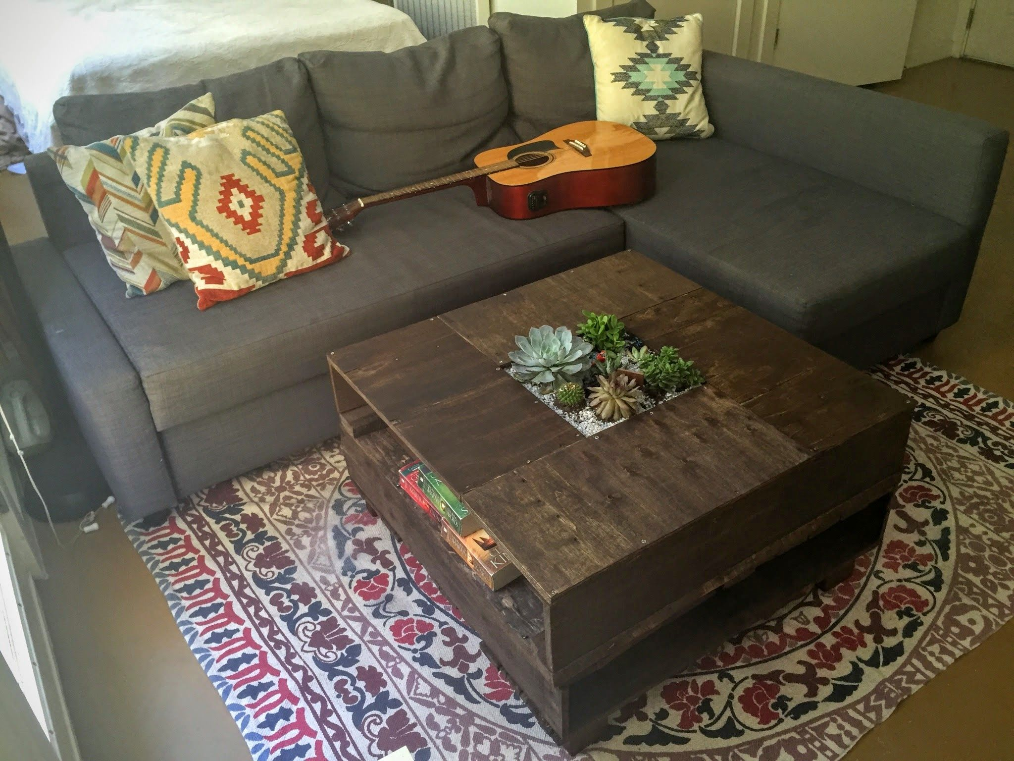 i made a succulent garden coffee table out of repurposed pallet
