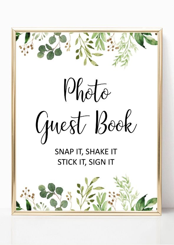 Greenery photo guest book sign printable, garden guest ...