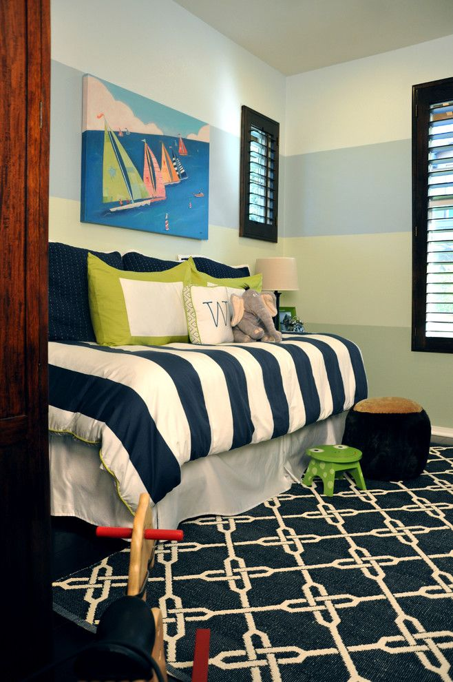 Dark Blue Boy Bedroom love the stripes - would need brown tones | boys' bedrooms