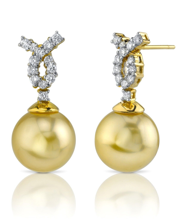 Vintage pearl drop gold earrings bocheron pearl earrings gold - Golden South Sea Cultured Pearl Diamond Swirl Earrings In Gold Women S Size