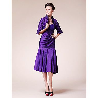 Trumpet/Mermaid Strapless Knee-length Taffeta Mother of the Bride Dress With A Wrap  – GBP £ 99.04