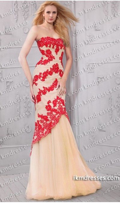 enchanting Strapless lace tulle  full length mermaid dress Multi-Color Dresses Pink Dresses Red Dresses  http://www.IkmDresses.com/enchanting-Strapless-lace-tulle-full-length-mermaid-dress-p59380