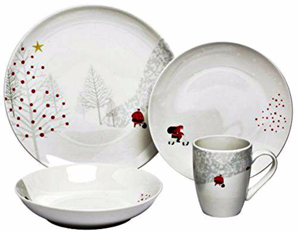 Melange Santa Comes Home Coupe Christmas Porcelain Dinnerware 16 Pieces Melange Christmas Dinnerware Christmas Dinnerware Sets Christmas Tableware