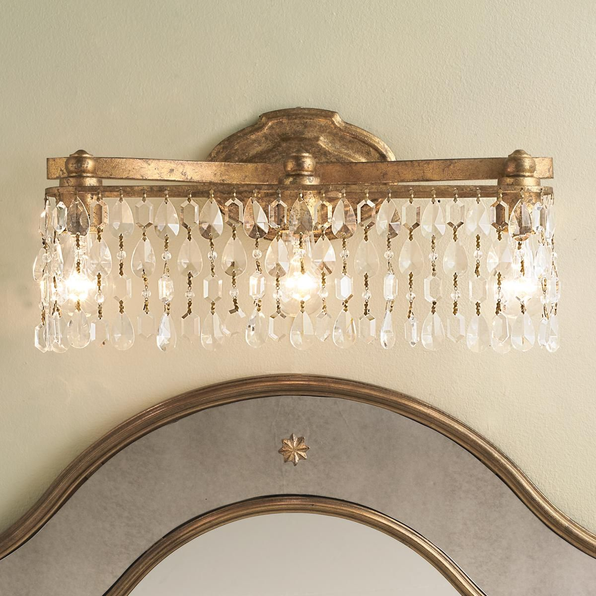Crystal Pendalogue Curtain Bath Light With A Vintage Gold Finish