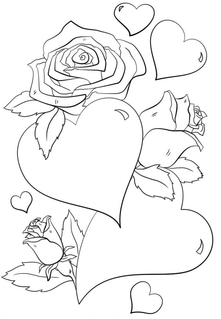 Roses And Hearts Coloring Pages Best Coloring Pages For Kids Heart Coloring Pages Rose Coloring Pages Flower Coloring Pages