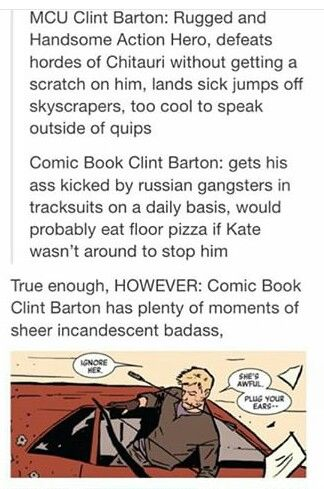 Comic book Clint Barton is still really cool! <---And I