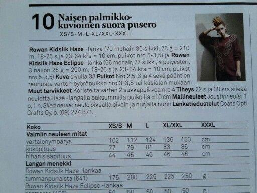 Naisen suora neulepusero neulottu pitkä pusero ei palmikkoa rowan kidsilk haze 200 g puikot 3 ja 4 sekä pyörö 3,5 moda 8/14