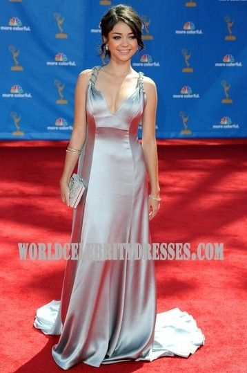Sarah Hyland Silver Sweep Train Celeb Evening Gown Red Carpet