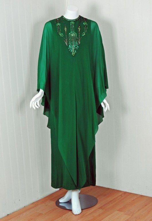 1965 Pierre Cardin Haute-Couture Beaded Green Silk-Chiffon Caftan Gown