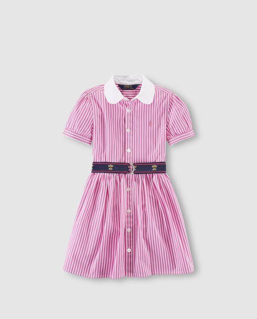 044da573a04 Vestido de niña Polo Ralph Lauren con rayas bicolor
