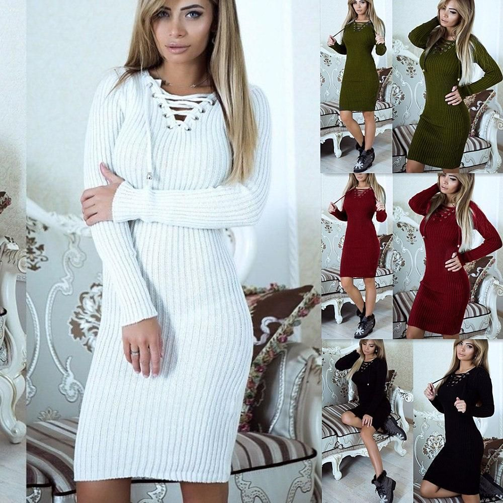 Long Sleeve LaceUp Sweater Dress in Products Pinterest