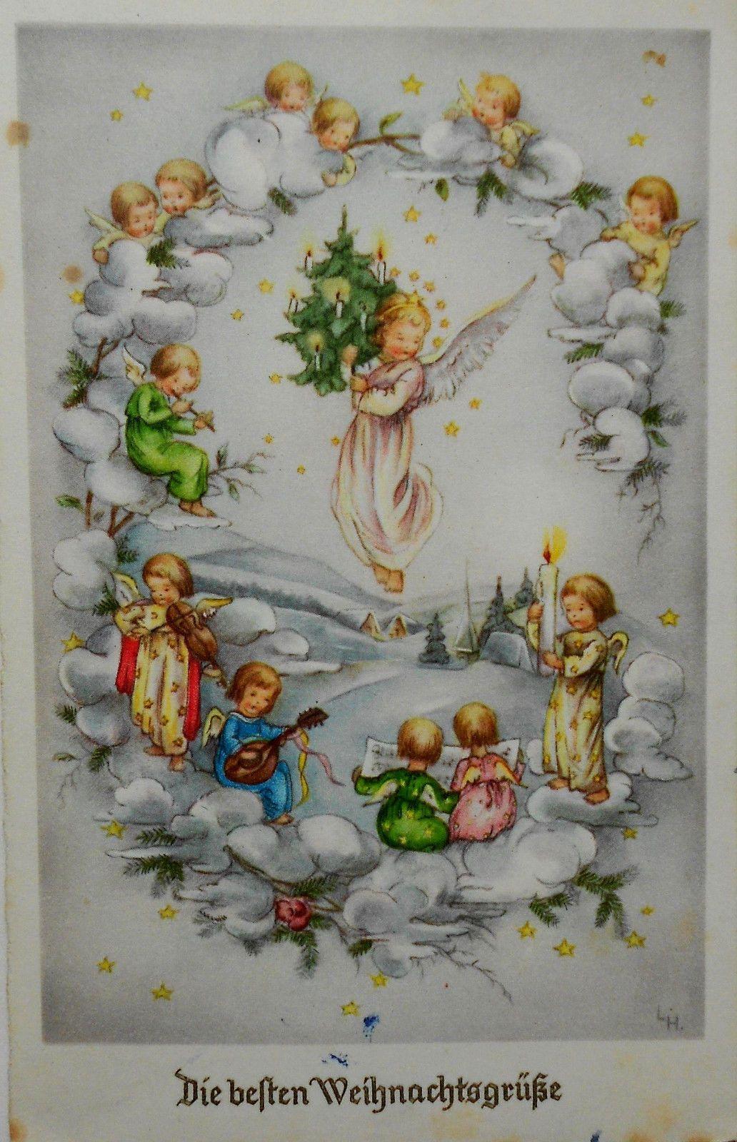 LORE HUMMEL ENGEL mit Christbaum musizieren auf Wolke
