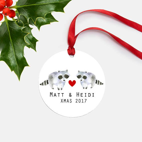 Couples Gift Raccoon Christmas Ornament-Personalized Christmas