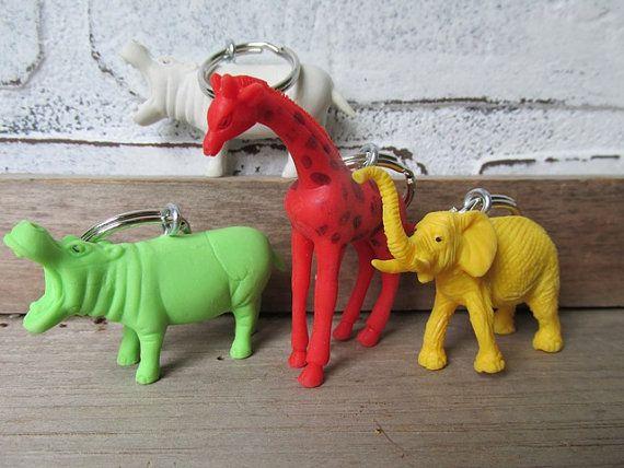 Animal Keychain Wedding Favor Circus Animal by TheVintageOrangeJar