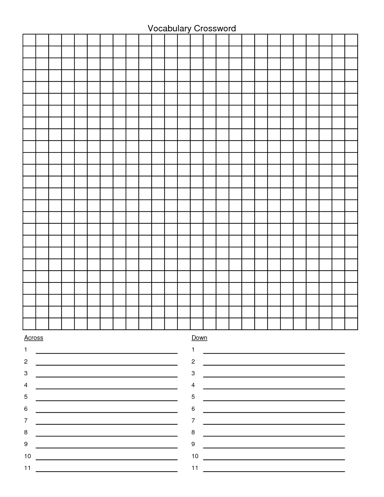 Blank Crossword Puzzle Template