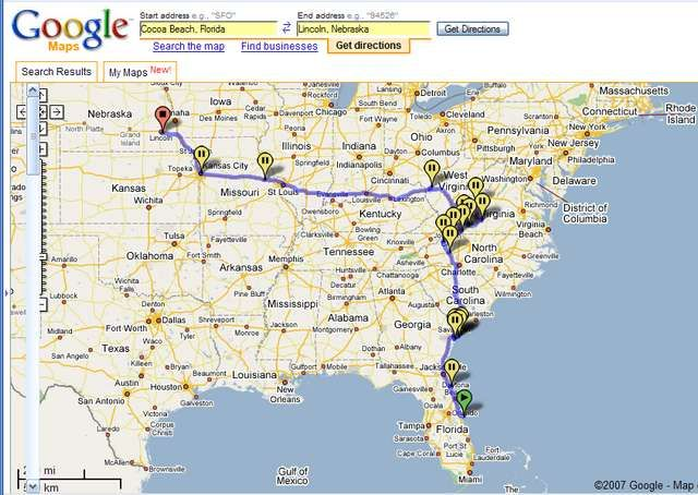 Google Maps Cocoa Beach Florida Return To Nebraska With Major - Map of southeast us coast