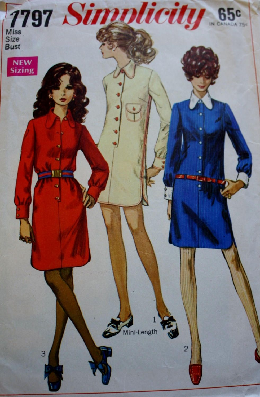Simplicity s dress pattern long sleeves s shirtdress