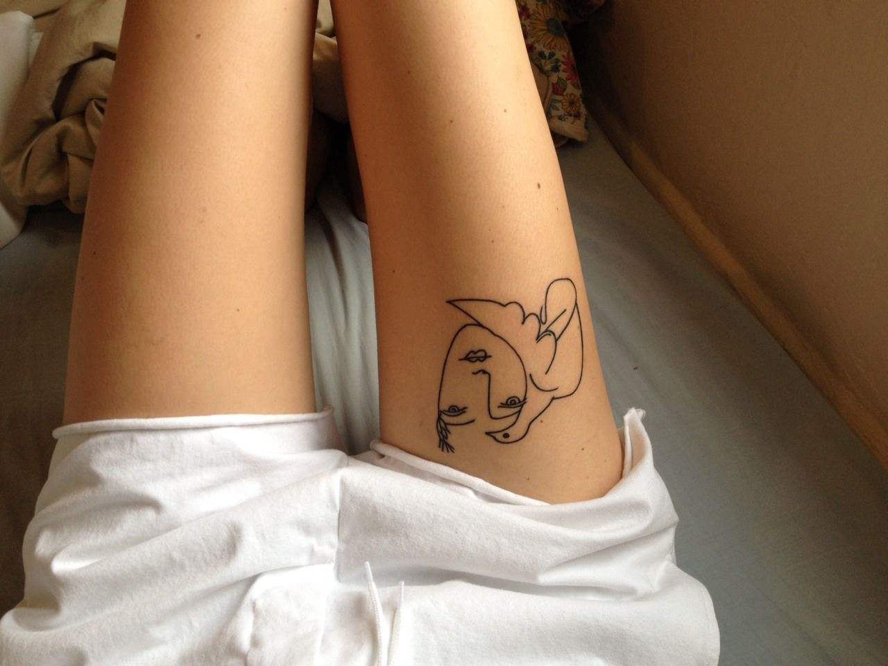 Line Drawing Face Tattoo : Lazybonesillustrations on the weekend i got this picasso tattoo