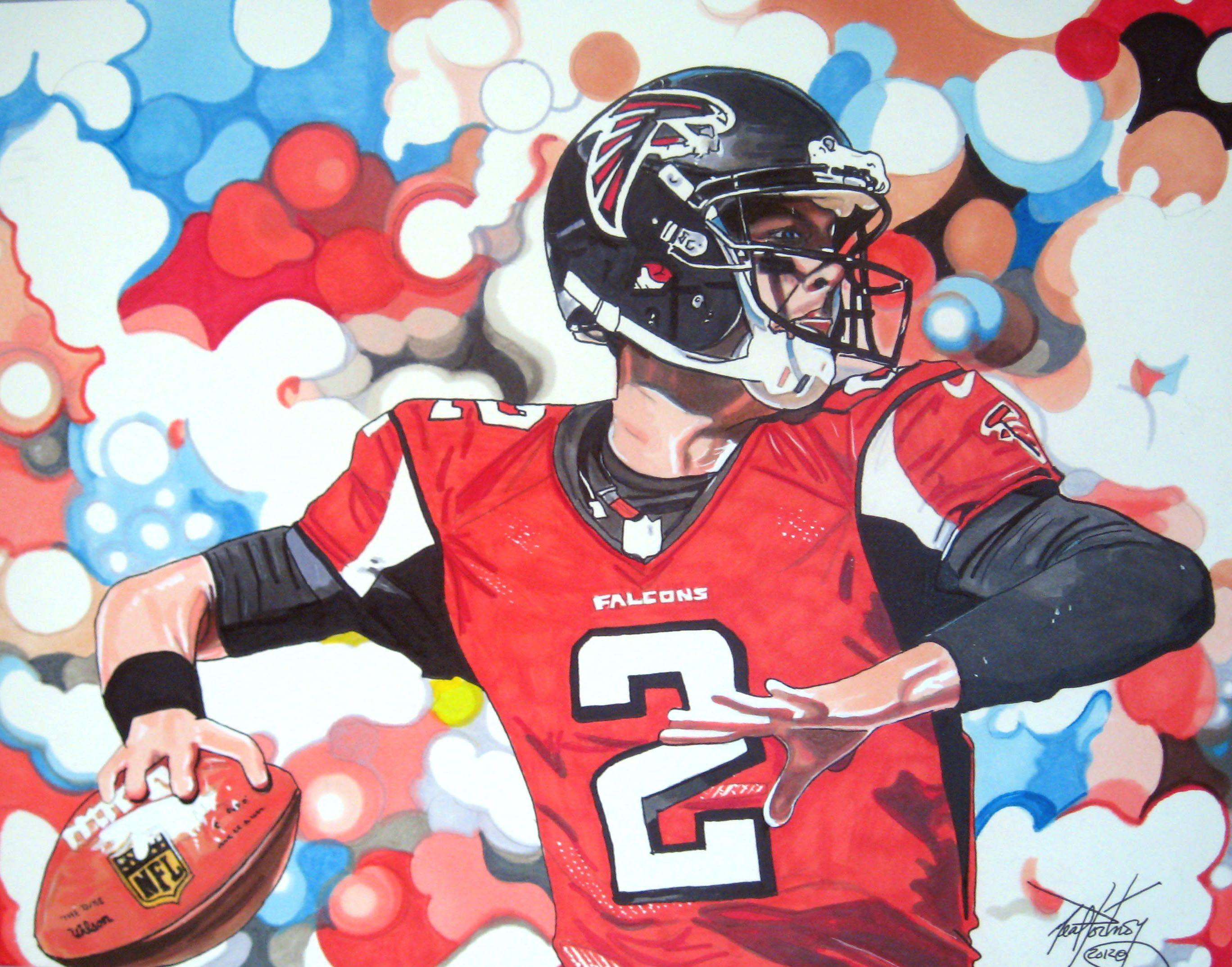 11x14 Marker Illustration I Completed Of Atlanta Falcons Qb Matt Ryan Sports Art Football Art Falcons Football
